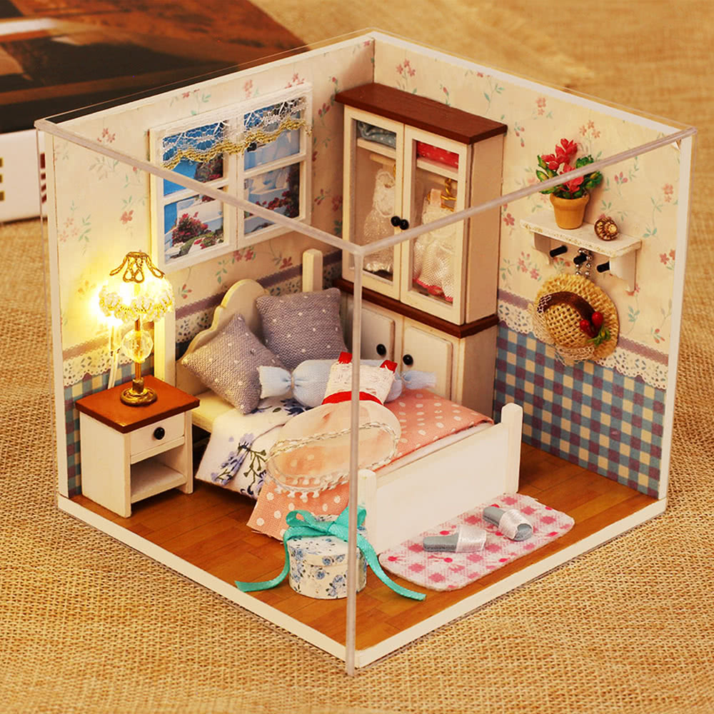 diy haus miniatur kit puppenhaus kreativraum mit m bel led sprachsteuerungs schalter staubdichte. Black Bedroom Furniture Sets. Home Design Ideas