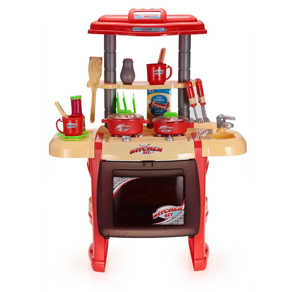 Kids kitchen toys set play house tableware table for Toy kitchen table