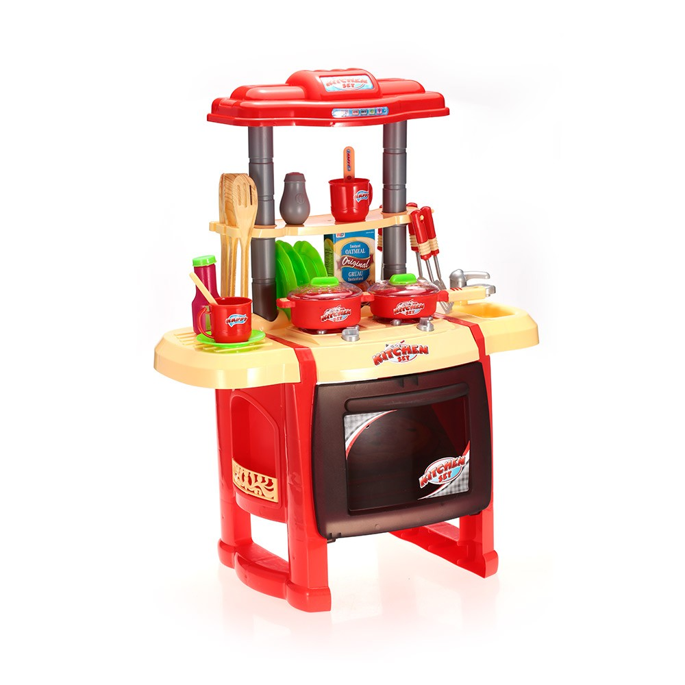 Kids kitchen toys set play house tableware table for Play kitchen table