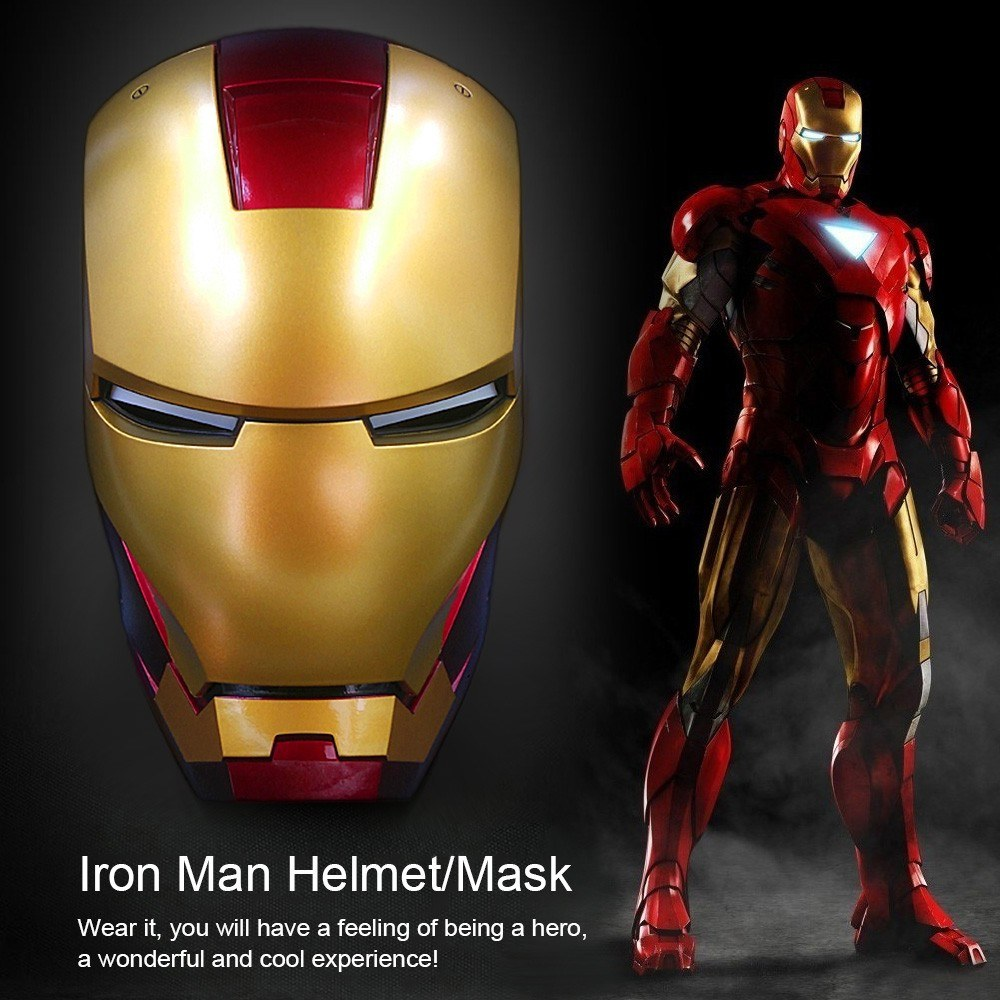 Super Hero Iron Man 1 Mark7 Wearable Helmet Full Scale Mask Mouse Game Wireless Replica For Festival Party Decoration Kids Toys