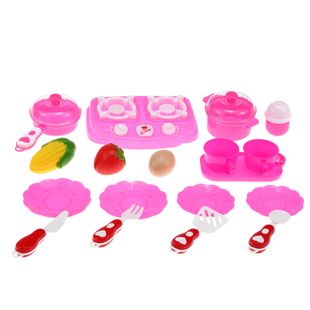 Colorful Kitchen Play Set Toy Kitchen Cook Toy With Kitchen Utensils And  Tableware Fruits For Girls Cooking Food Dishes
