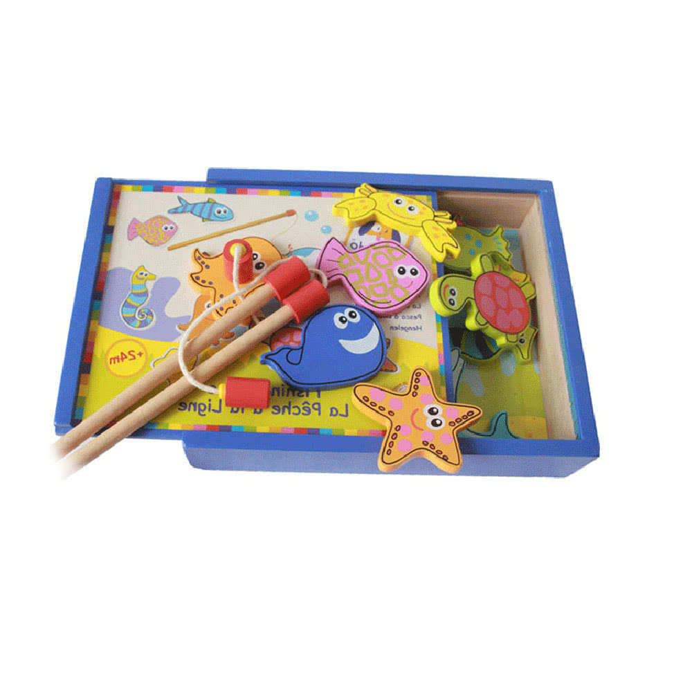 Wooden magnetic fishing set fishing game fish playsets for Fishing toy set