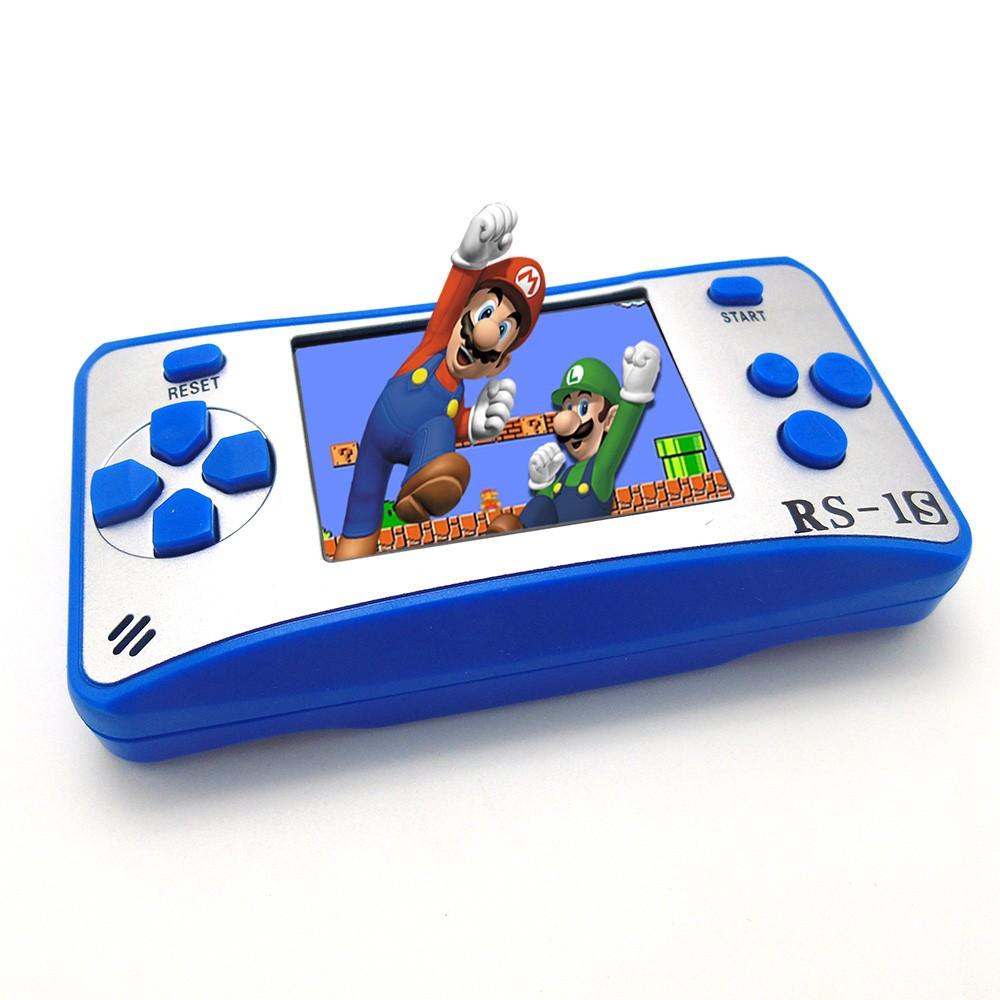 console de jeu portable 8 bits retro handheld game player 168 jeux classiques int gr s bleu. Black Bedroom Furniture Sets. Home Design Ideas
