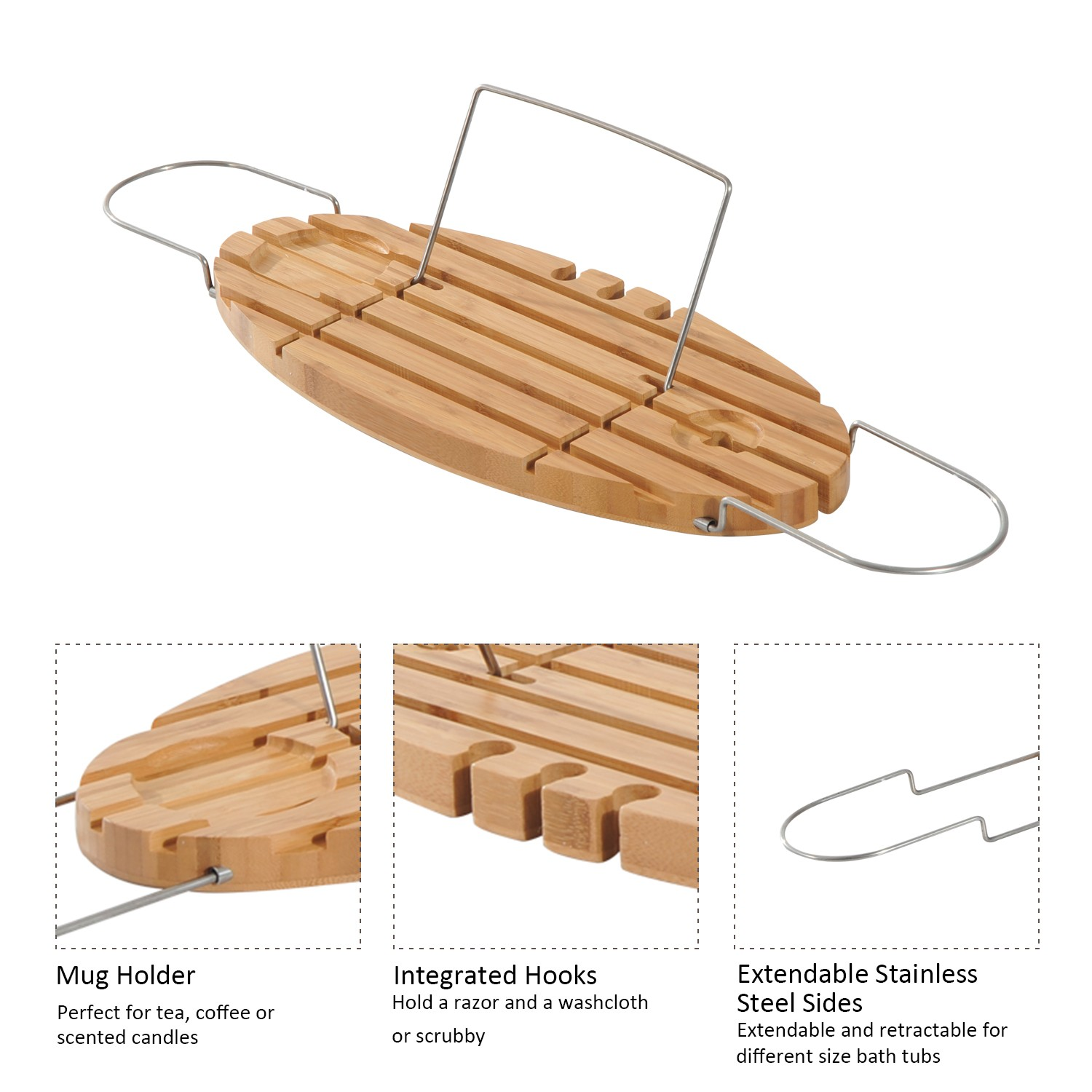 Adjustable Oval Bamboo Bathtub Caddy Sales Online brown - Tomtop