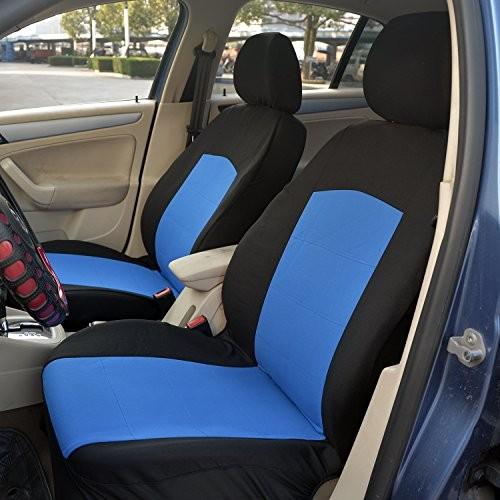 Polyester Automotive Seat Cover Set (11 Piece  Black/Blue)