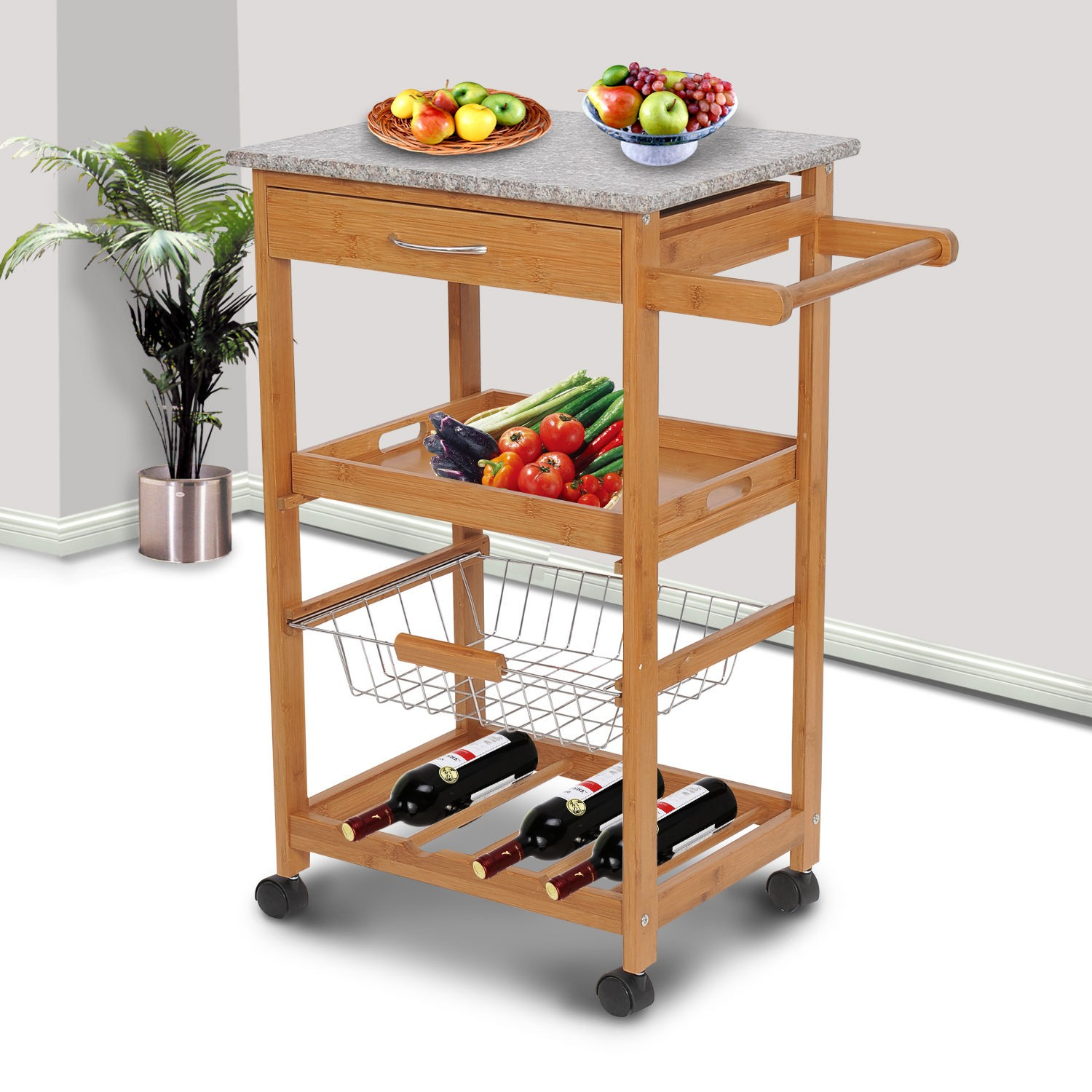31 rolling wooden kitchen trolley cart with wine rack granite top sales online brown tomtop. Black Bedroom Furniture Sets. Home Design Ideas