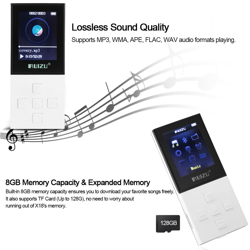RUIZU X18 8GB MP3 / MP4 Player Lossless Music Player 68 Hours Music Time BT  Connection FM Radio Recoding w/ TF Card Slot 1 8 Inches Screen