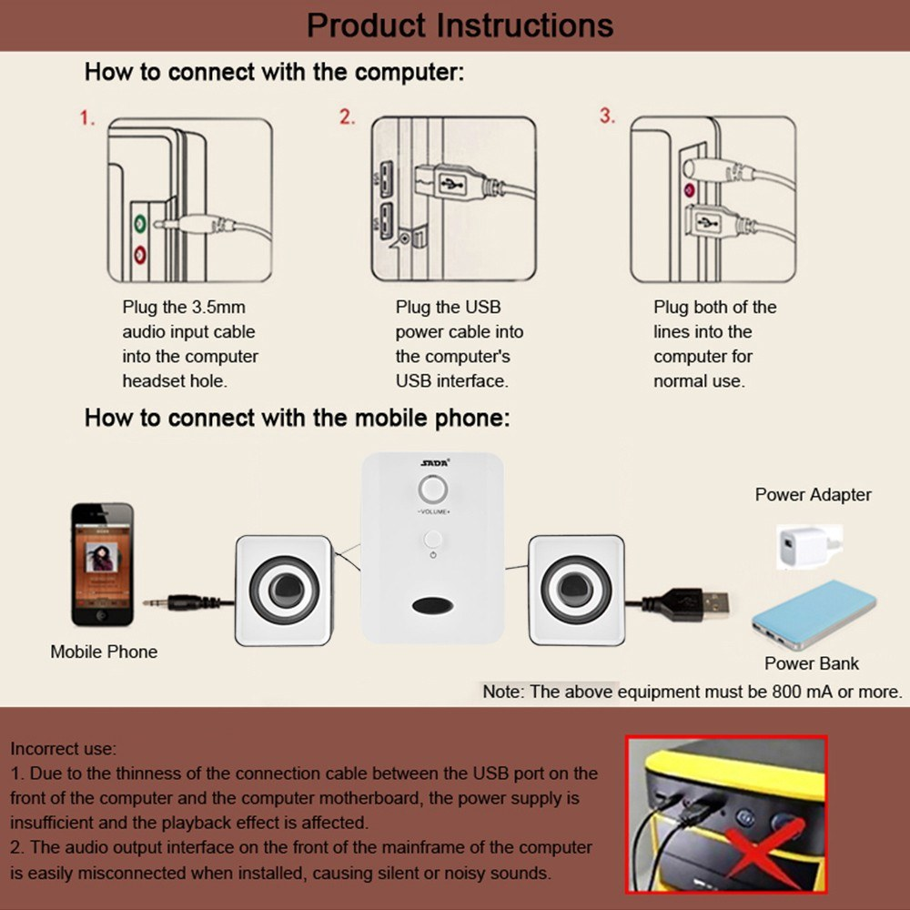 Sada D 201 Usb Wired Combination Speakers Computer Bass 3 5mm Jack Wiring Diagram Combo 1 Set Of Speaker A User Manual Chinese