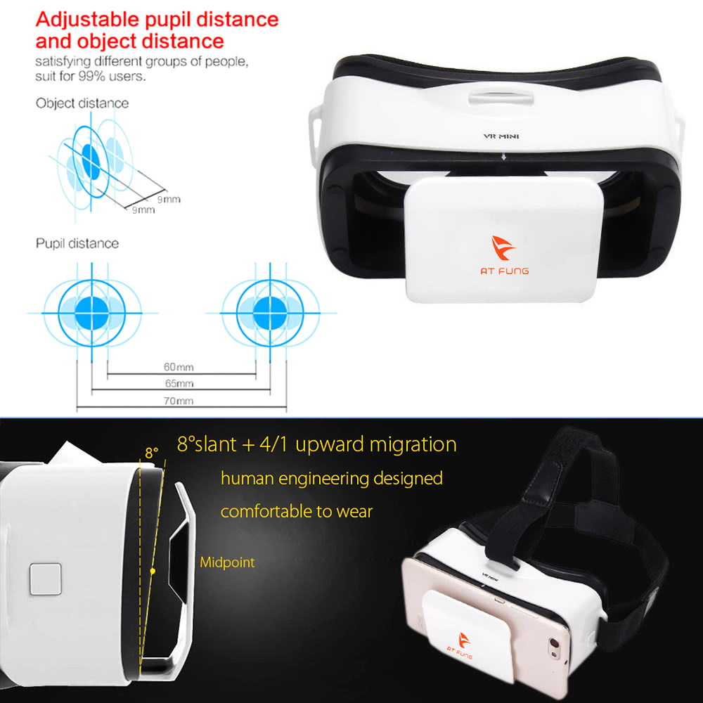 At Fung VR Mini Virtual Reality Glasses 3D VR BOX Headset 3D Movie VR Games  Head-mounted Display Use Universal for Android iOS Smart Phones within 4 5