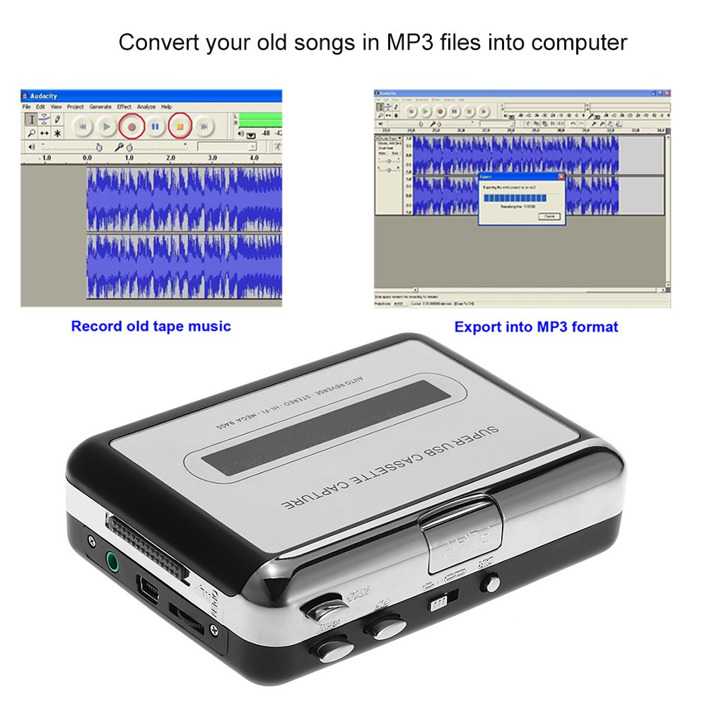 ezcap USB Cassette Capture Tape-to-MP3 Converter with Earphone