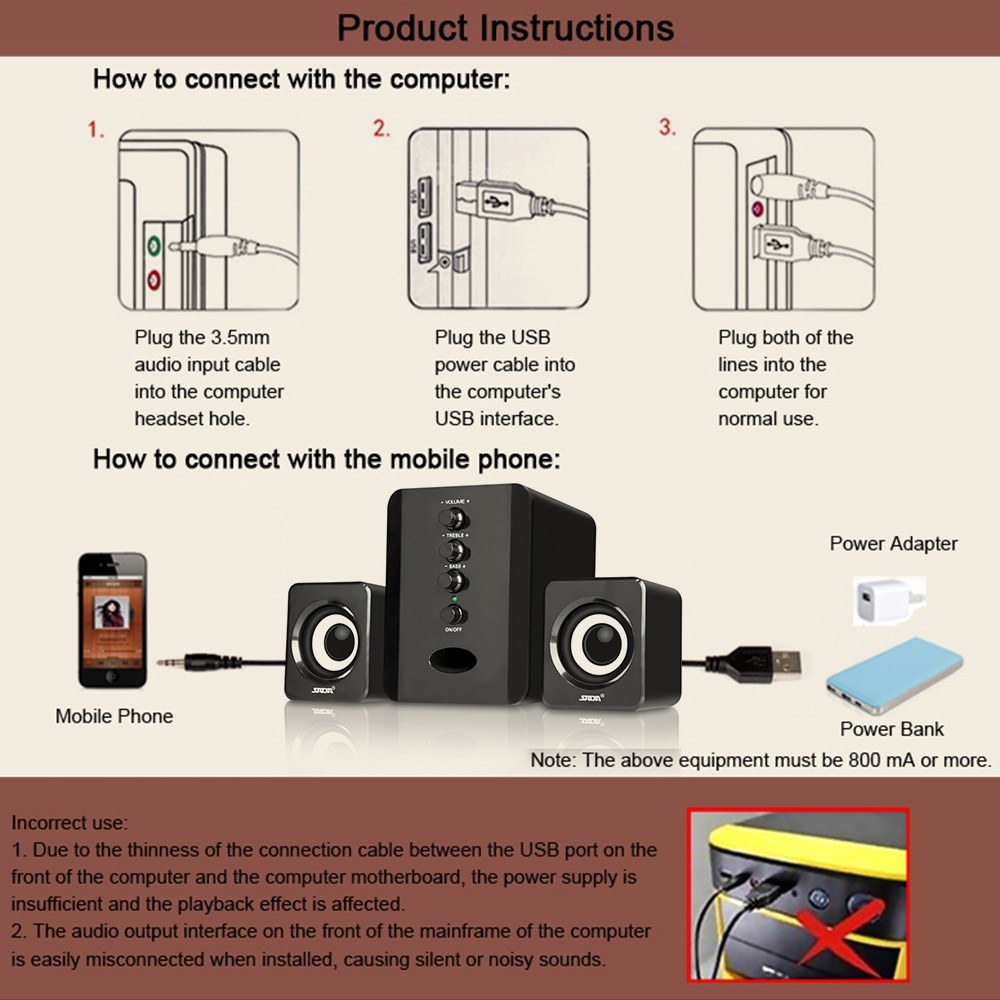 Sada D 202 Usb Wired Combination Speakers Computer Bass 3 5mm Jack Wiring Diagram Combo 1 Set Of Speaker A User Manual Chinese