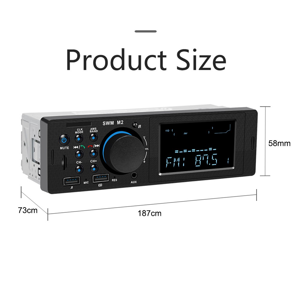 SWM M2 Bluetooth Car Stereo Car Audio FM Radio 60W Output MP3 Player  Support USB TF Card Slot 3 5mm AUX Hands-free Call with Mic Wireless Remote