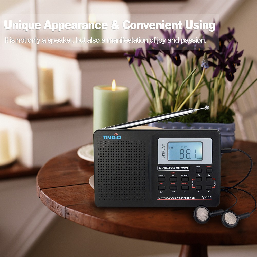 TIVDIO Pocket Mini MW / FM / SW Stereo Radio with Earphone