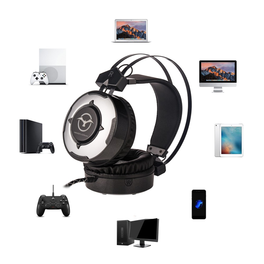 MINGOUGAMIN M1 PC Gaming Headsets 3 5mm Wired Earphone Over Ear Game  Headphone with Microphone Colorful LED Light Volume Control for PC Laptop  PS4 New