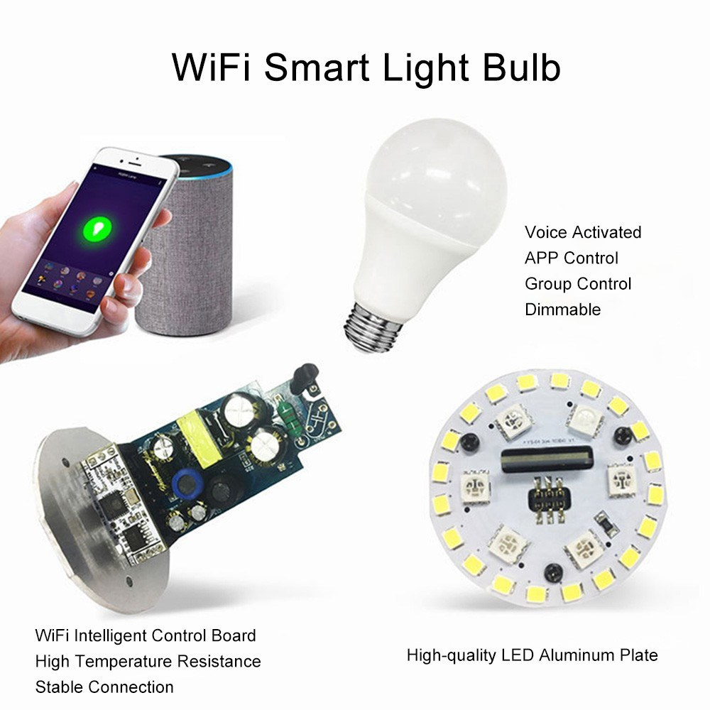 Smart WiFi LED Bulb Compatible with Alexa Google Home IFTTT 7W Voice  Control APP Control Use 2 4G WiFi Multicolor White Light Timer Function  Light