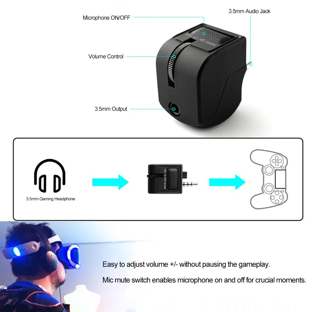 Headset Audio Control for PS4 Gamepad Volume Microphone Mute Control for  3 5mm Gaming Headphones Audio Adapter for Playstation 4 Joystick