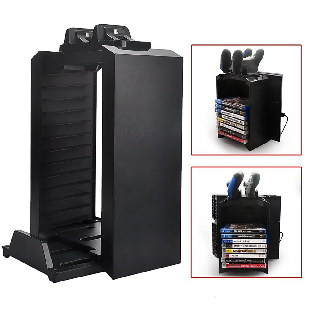 dobe multi functional storage stand kit for ps4 game discs controllers with dual controller. Black Bedroom Furniture Sets. Home Design Ideas