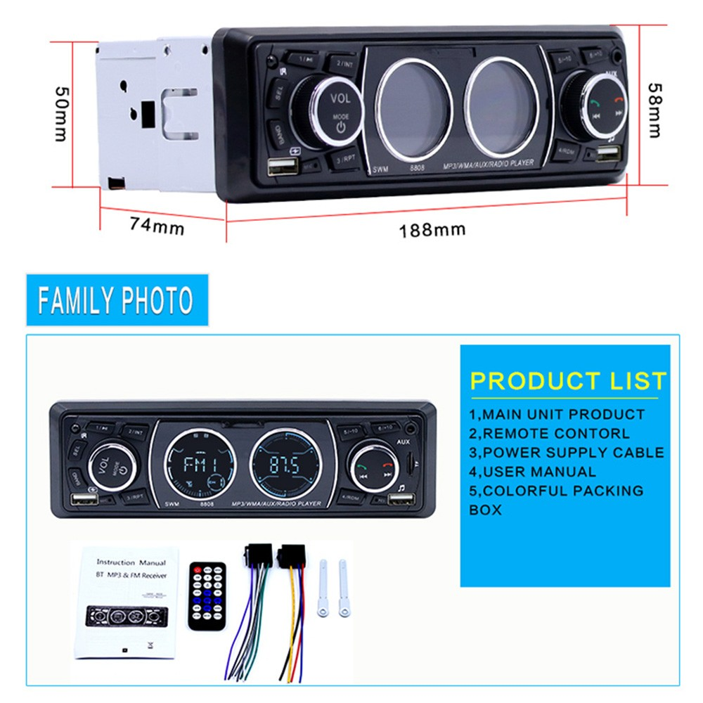 SWM 8808 BT Vehicle Car MP3 Player