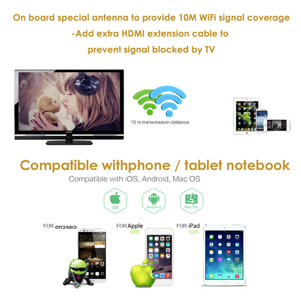 YEHUA C8 Wireless WiFi Display Dongle Receiver 1080P HD TV Stick Audio &  Video DLNA Airplay Miracast for Smart Phones Tablet PC to HDTV Monitor