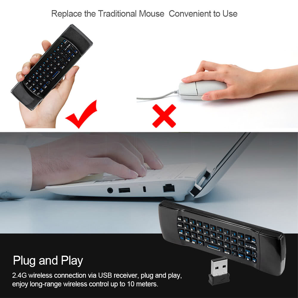 2 4G 6-Axis Air Mouse Wireless Keyboard Remote Control 6-Axis Sensor with  Infrared Remote Learning for MINI PC Smart TV Android TV BOX