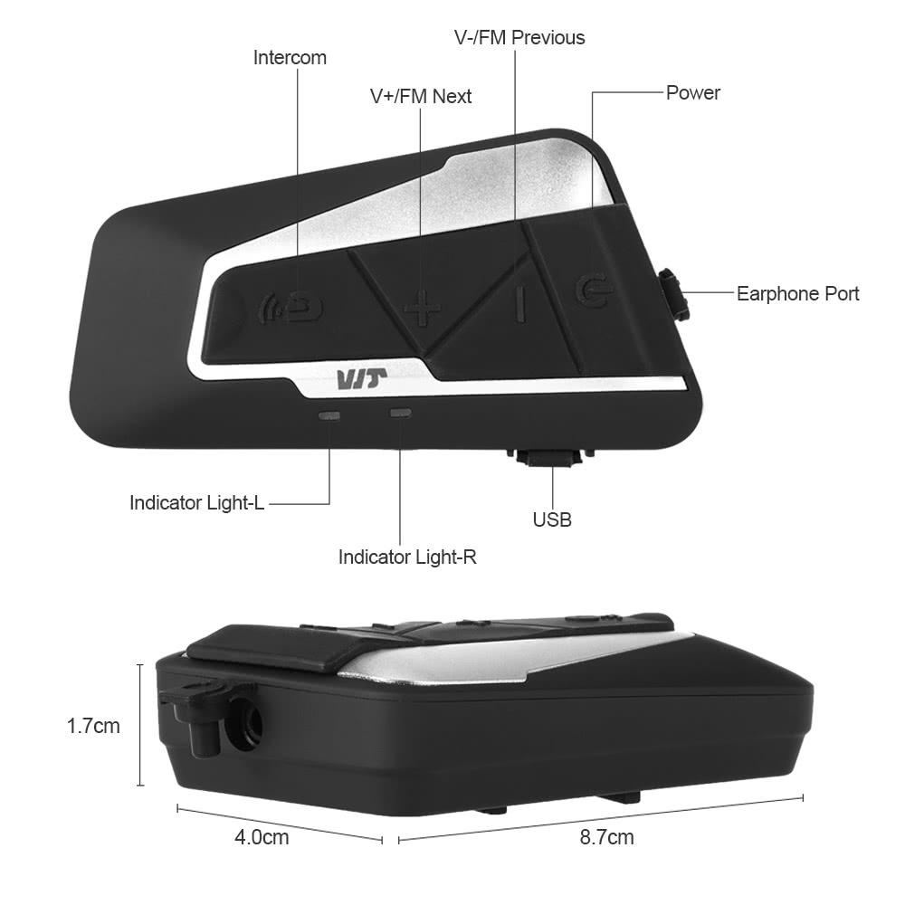 T9s Motorcycle Helmet Headset Bt Intercom 1000m Interphone Distance Polo Wiring Diagram Fm Radio Hands Free With Mic Ipx7 Waterproof Dust Proof