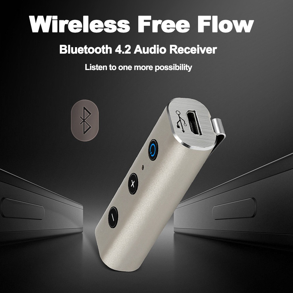 Portable Wireless BT Receiver BT 4 2 Adapter AUX Hands-Free w/ Microphone  for Phone Car Home Audio System Silver