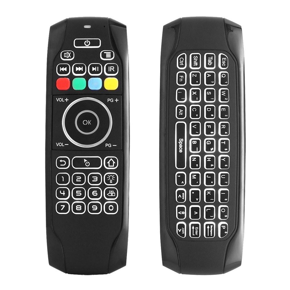 r tro clairage 2 4g air mouse clavier sans fil t l commande infrarouge apprentissage distance. Black Bedroom Furniture Sets. Home Design Ideas
