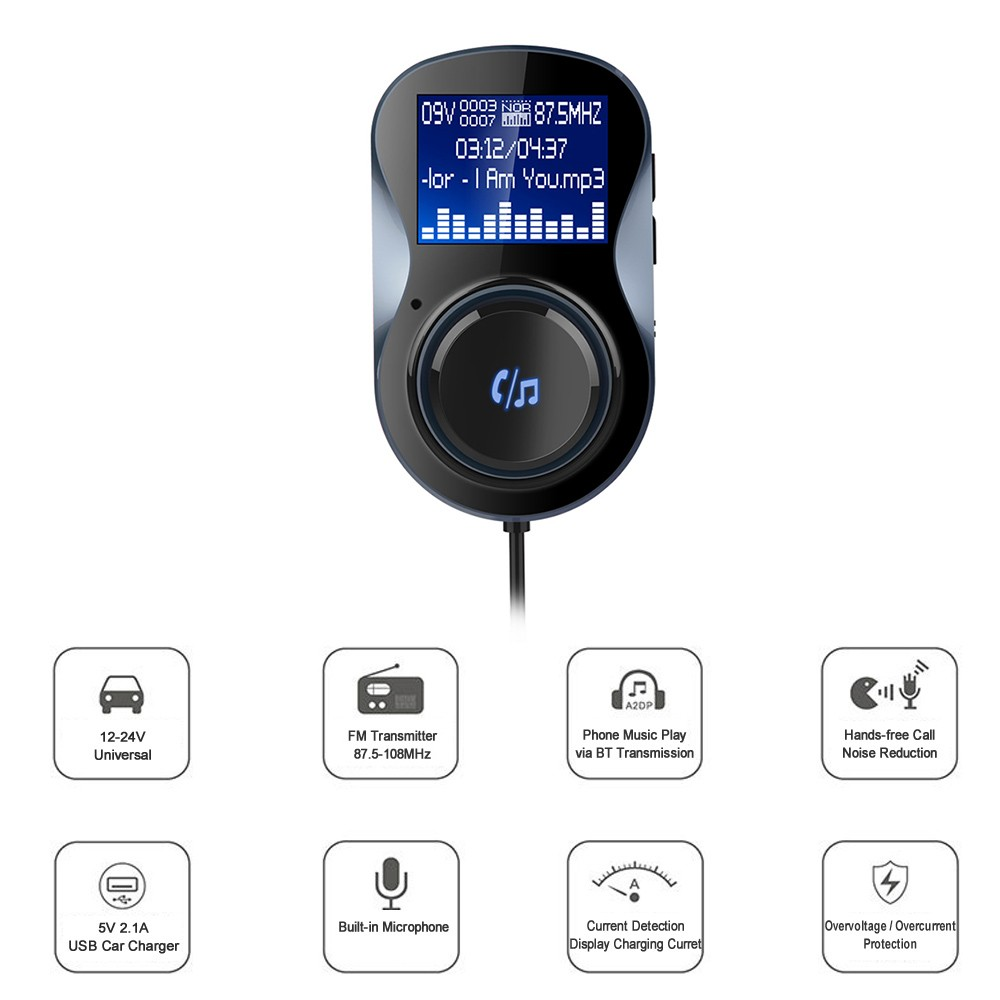 BC30 BT Car Kit MP3 Audio Player FM Transmitter Hands-free w/ Mic USB Car  Charger Support U Disk Music Play Voltage Detection Black