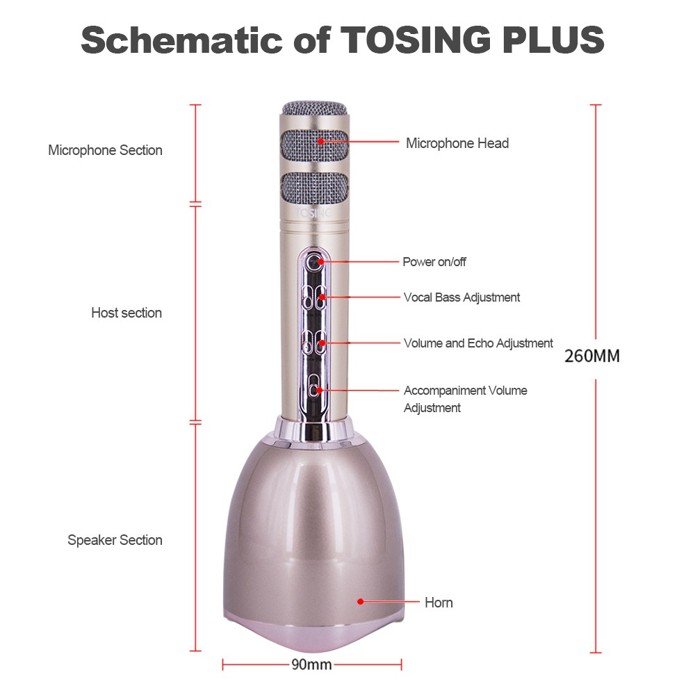 Tosing Plus Wireless Karaoke Microphone Bt Speaker 2 In 1 Handheld Android Cable Schematic Package List Usb Audio User Manual English