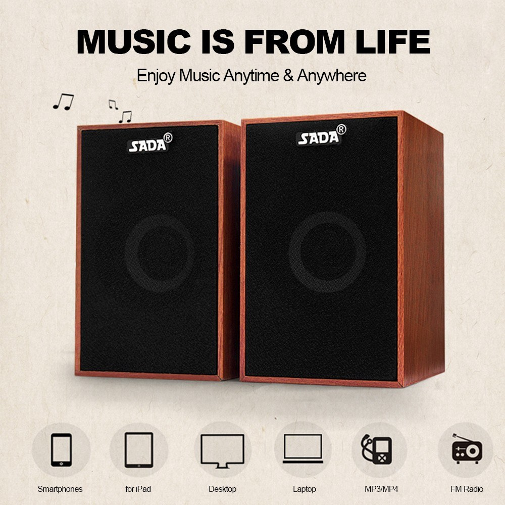 $4 OFF SADA V-160 USB Wired Wooden Combination Speakers,free shipping $9.99