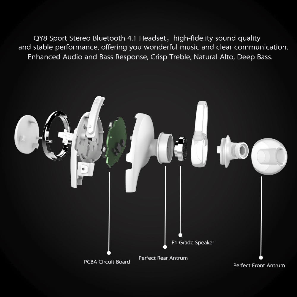 Qcy Qy8 Sport Bt Headset In Ear Wireless Stereo 41 Edr Samsung Headphone Cable Wiring Diagram 1 2 Pairs Of Earmuffs Pair T Light Adapter Usb