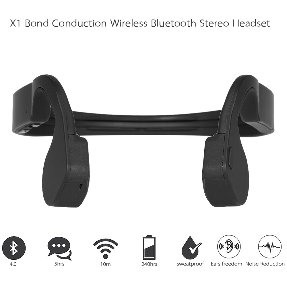 X1 Bone Conduction Wireless BT Stereo Headphone BT 4.0 CSR8645 Neck-strap Earphone Hands-free Headset for Android / iOS Smart Phones Other BT-enabled Devices Black