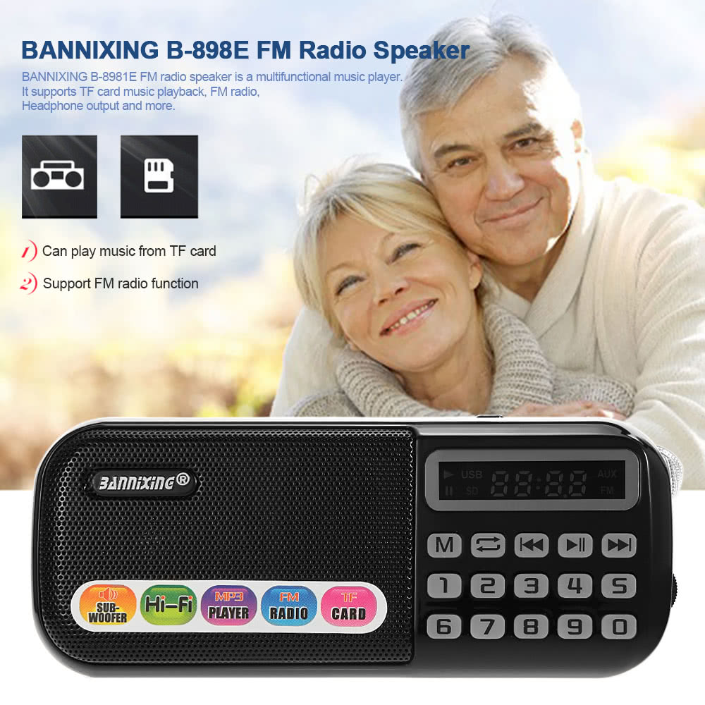 BANNIXING B-898E FM Radio Speaker Audio Player Digital LED Display Support  TF Card Music Play Stereo Music Player Black Sales Online black - Tomtop
