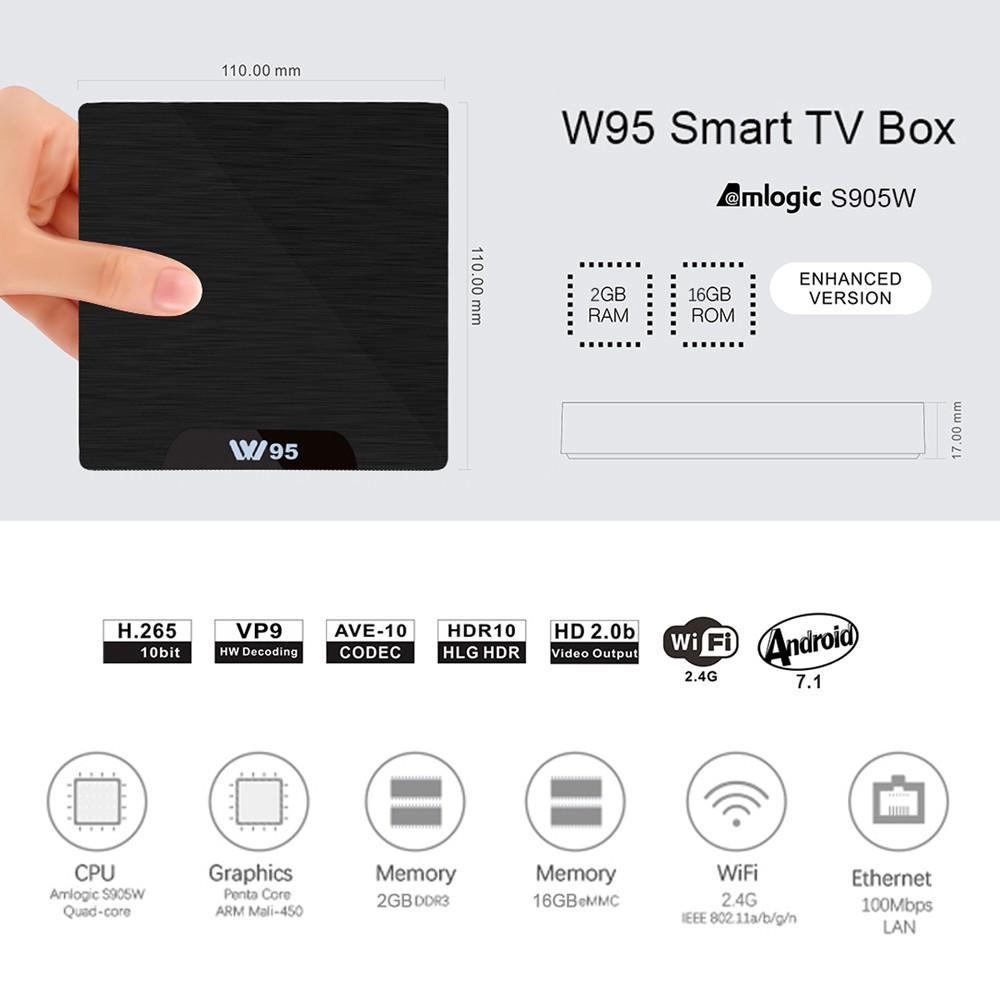 W95 ANDROID 7 2GB/16GB TV BOX JUST $29.99 / €25.79 / £22.79 !! 1