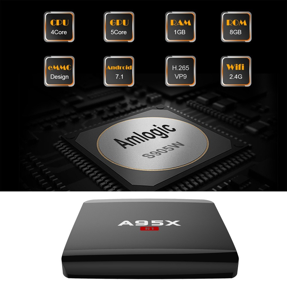 A95X R1 Smart Android 7 1 2 TV Box Amlogic S905W Quad Core H 265 VP9 2GB /  16GB DLNA Miracast Airplay WiFi LAN HD Media Player UK Plug