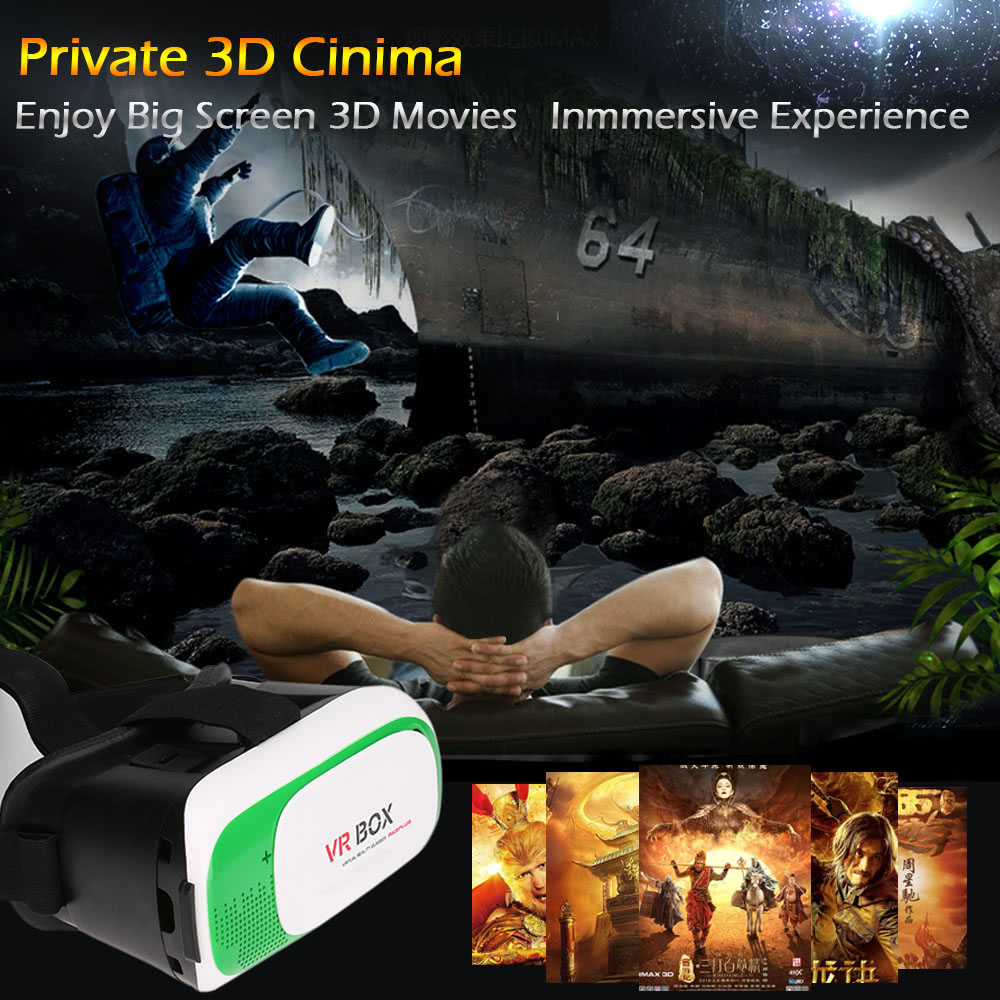 VR BOX 2 0 Virtual Reality Glasses 3D VR Box Headset 3D Movie Game Glasses  Head-Mounted for 4 7 to 6 0 Inches Android iOS Smart Phones Green