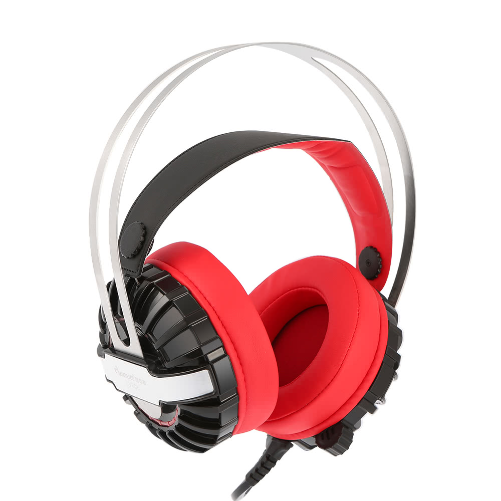 Ewave Ly806 35mm Gaming Headset Over Ear Stereo Game Headphone Nubwo Headshet No040 Noise Cancellation Headband With Mic Volume Control Led Light For Laptop Computer Pc Red