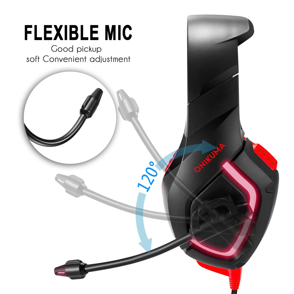ONIKUMA K1 PC Gaming Headset 3 5mm Stereo USB LED Headphones with  Microphone Volume Control Blue for PS4 New XBOX ONE Computer PC