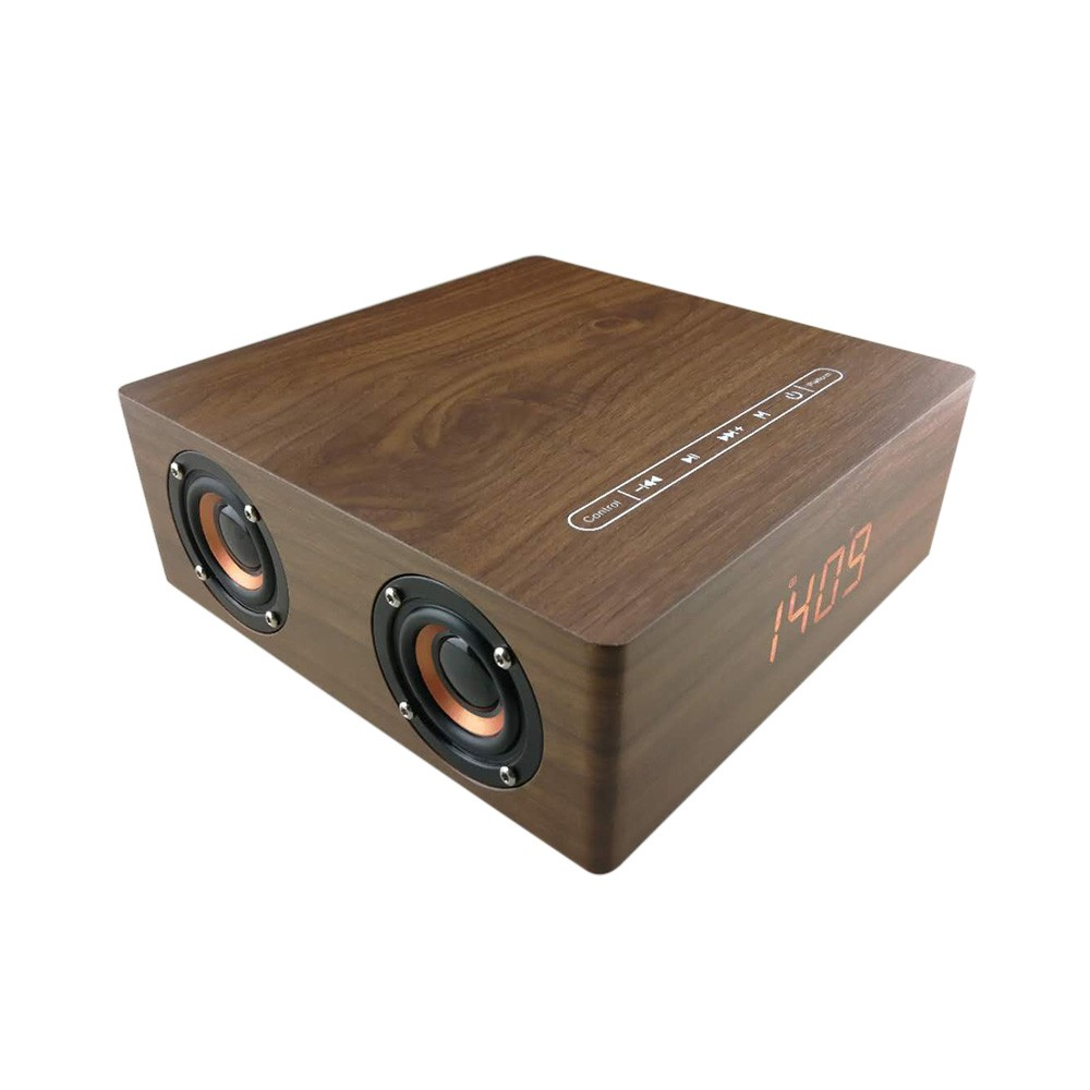 Q5C Wooden BT 4.2+EDR Subwoofer Speaker Alarm Clock