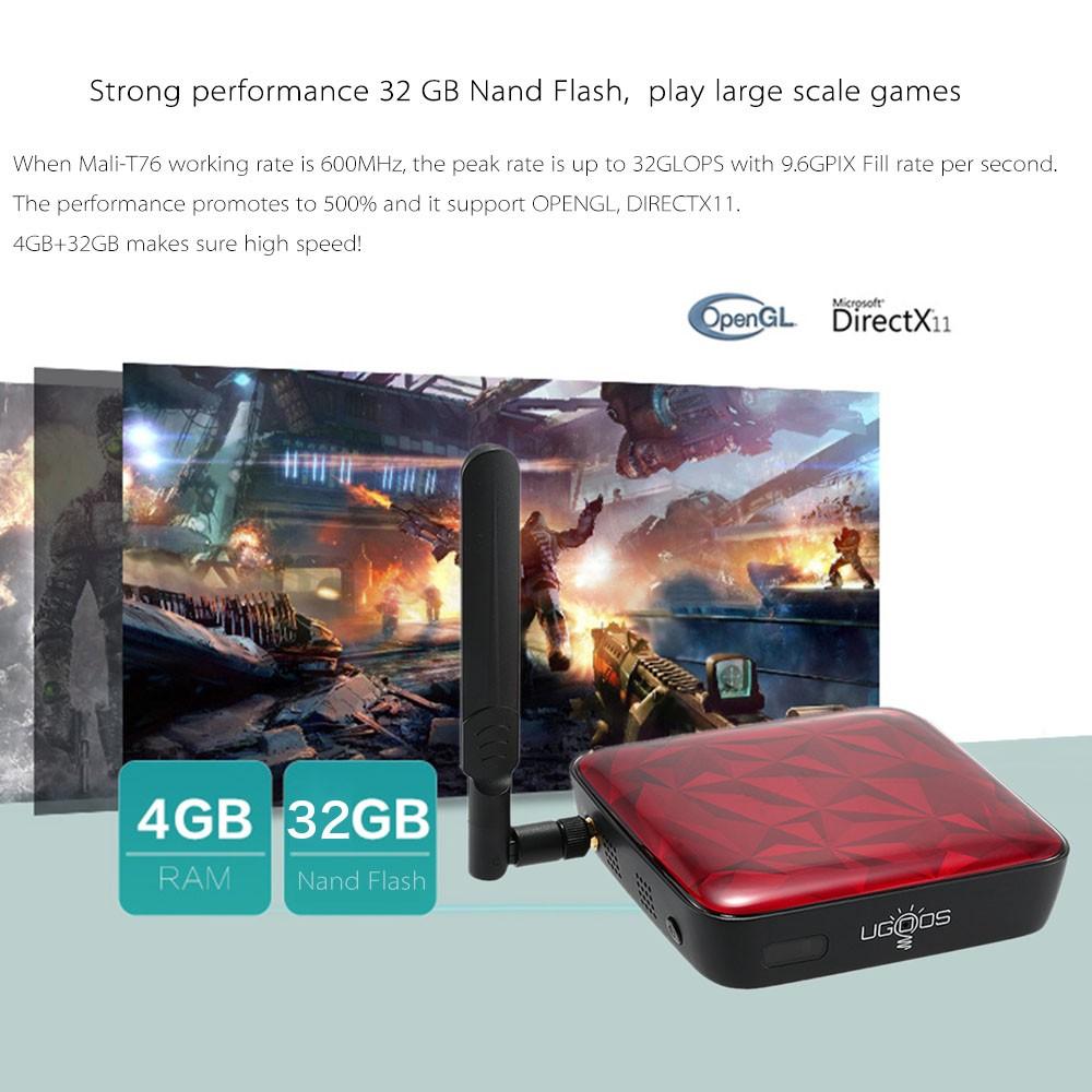 Original Ugoos UT3S Smart Android TV BOX Android4 4+ubuntu 14 10 Dual OS  RK3288 4G/32G UHD4K 3D HDMI2 0 BT 4 0 WIFI5 0 1000M Mini PC