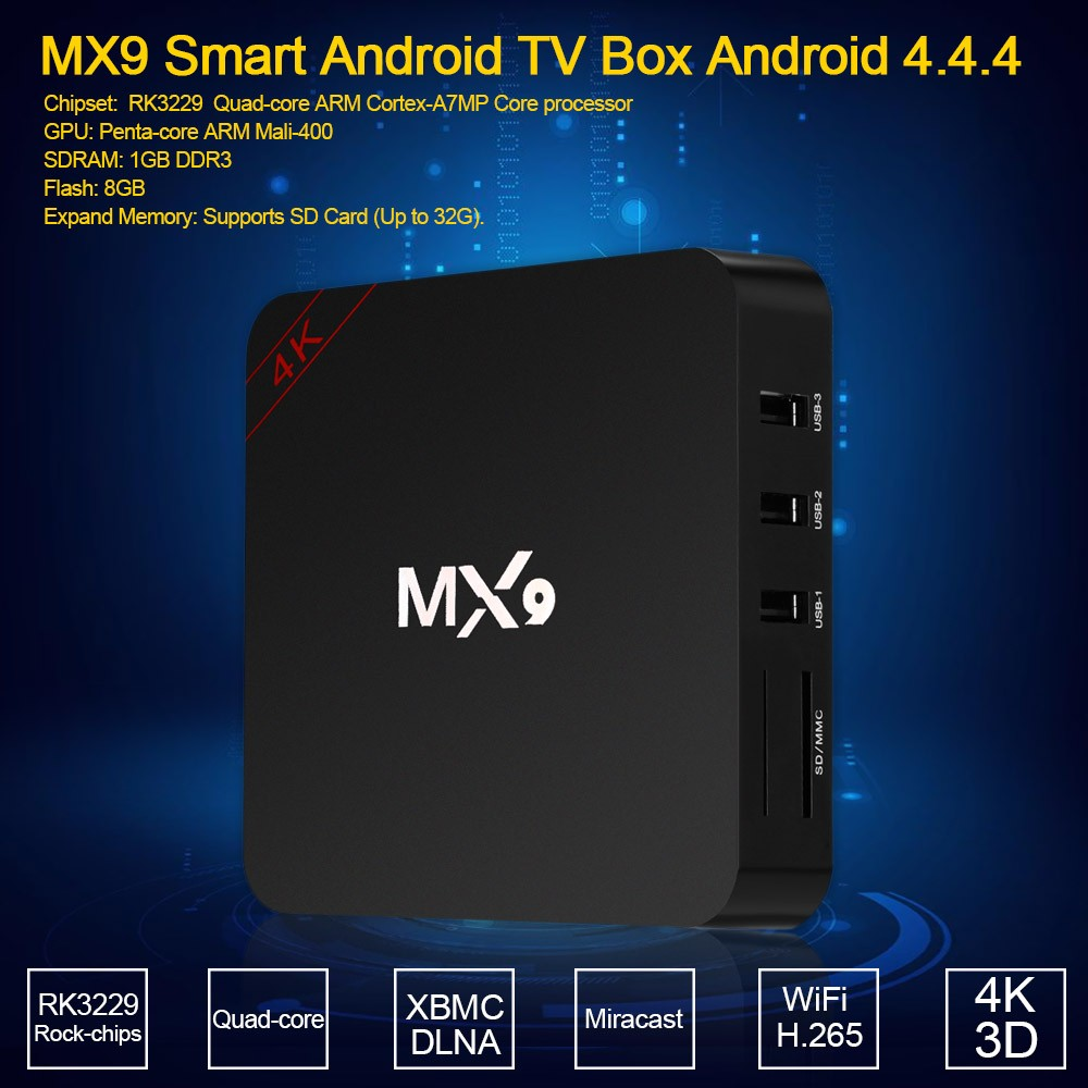 MX9 Smart Android TV Box Android 4 4 4 Rock-chips RK3229 Quad-core XBMC UHD  4K 3D 1G / 8G Mini PC WiFi & LAN H 265 DLNA Miracast HD Media Player Sales