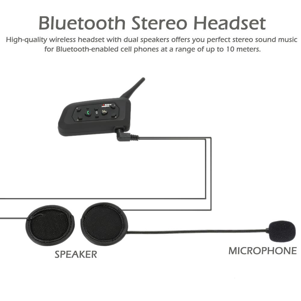 v6 1200 motorcycle bluetooth headset intercom 1200m hands free interphone helmet headset black. Black Bedroom Furniture Sets. Home Design Ideas