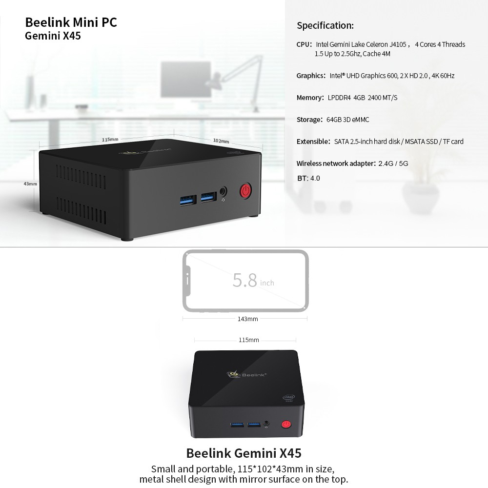 Beelink Gemini X45 Mini PC TV Box 4GB DDR4 64GB eMMC EU Plug