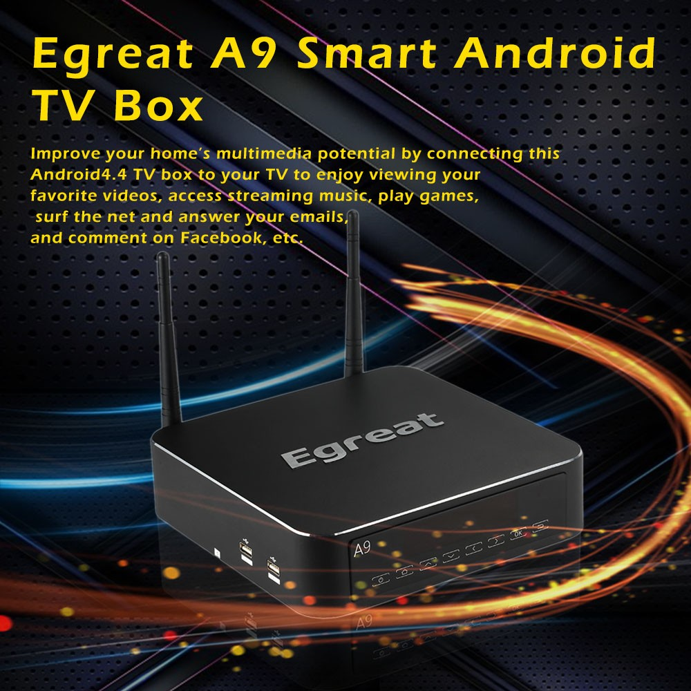 Egreat A9 Smart Android TV Box Android4 4 Quad Core 4K UHD Media Player  Mstar MSO9180-DB2 2G RAM 16G ROM 2 4G/5G WIFI 7 1ch Passthrough SATA USB  3 0
