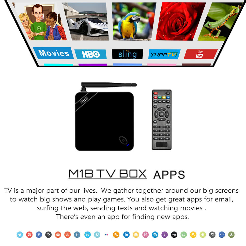 M18 Smart Android TV Box Android 5 1 Amlogic S905 Quad-core KODI XBMC UHD  4K 1000M LAN 2G / 16G Mini PC 2 4G & 5 0G WiFi H 265 Airplay Miracast DLNA