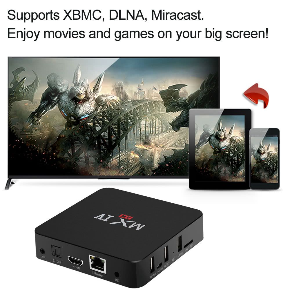MX IV Smart Android TV Box Android 5 1 1 Amlogic S905 Quad-Core 64 bit XBMC  UHD 4K 2G / 8G Mini PC WiFi 1000M LAN H 265 DLNA Miracast HD Media Player