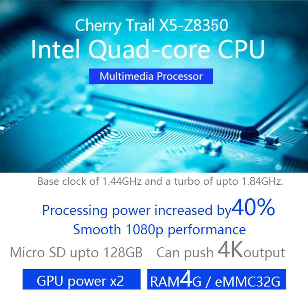 MEEGOPAD T08 Mini PC Compute Stick Windows 10 Intel X5-Z8350 TV Box -4G+32G  US Plug