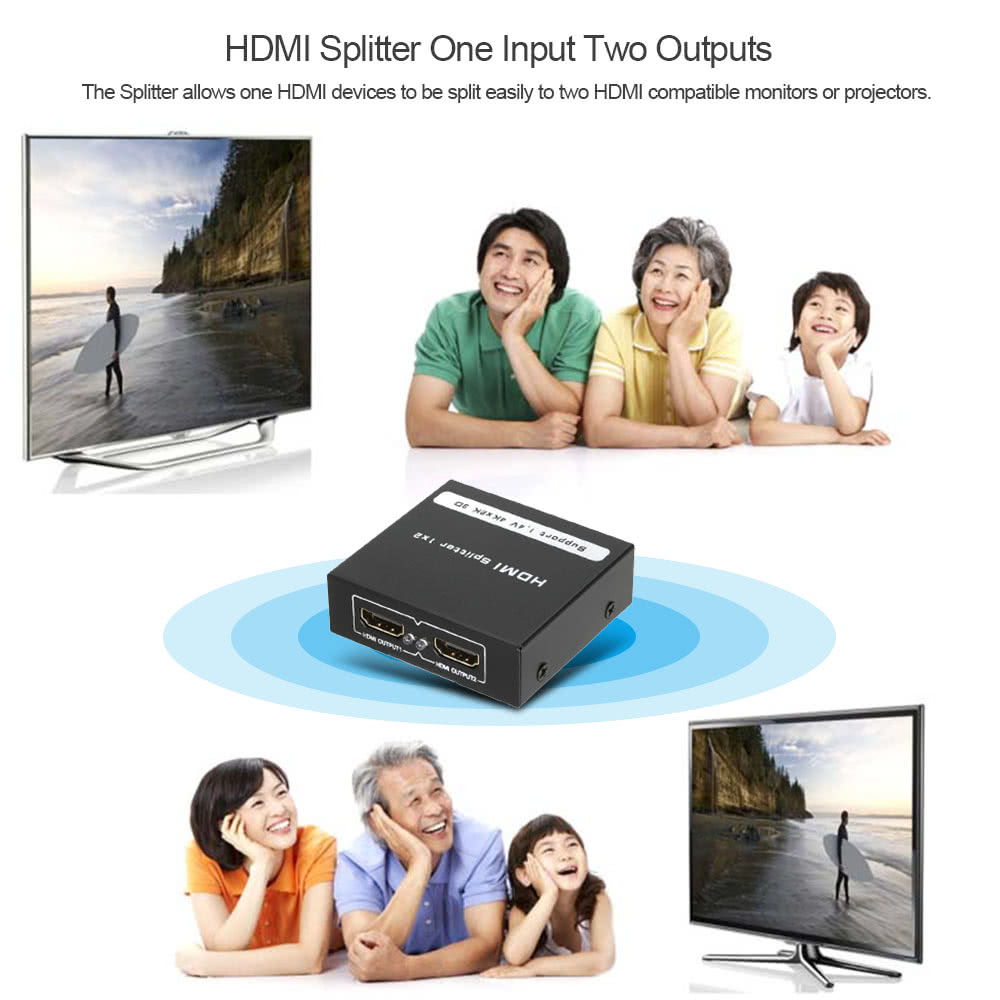 HDMI Splitter 1 x 2 Switch Adapter 4K x 2K 3D HD Video Audio Converter 1  Input 2 Outputs for Set-top Box DVD player to HDMI Monitor