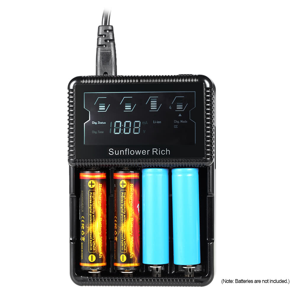 Sunflower Rich Xxc S4 4 Slot Smart Battery Charger Digital Lcd Baterai 14500 Batre Recharge Aa A2 37v Display For Rechargeable Aaa Ni Mh Cd Li Ion Lifepo4 26650 18650 18350 17500