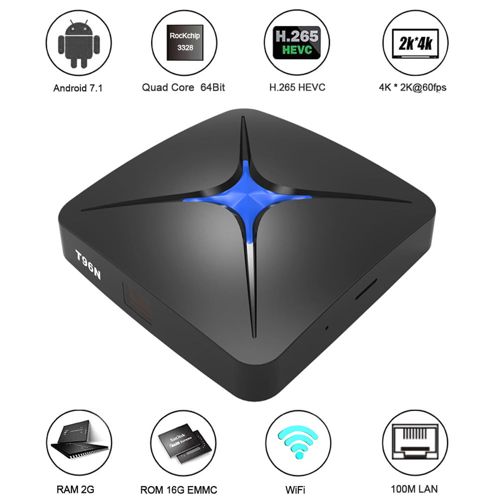 T96N Android 7 1 TV Box RK3328 2GB / 16GB